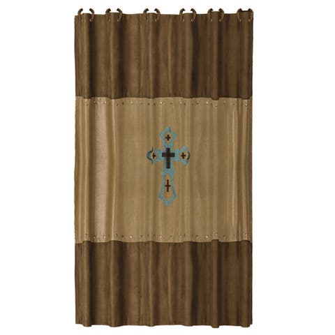 HiEnd Accents Las Cruses Embroidered Shower Curtain 72 X 72