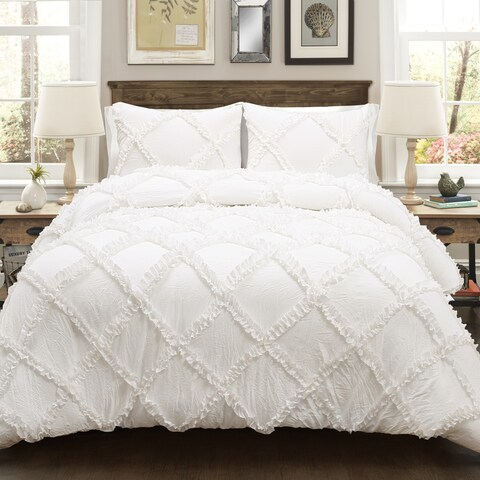 Lush Decor Ruffle Diamond 3 Piece Comforter Set