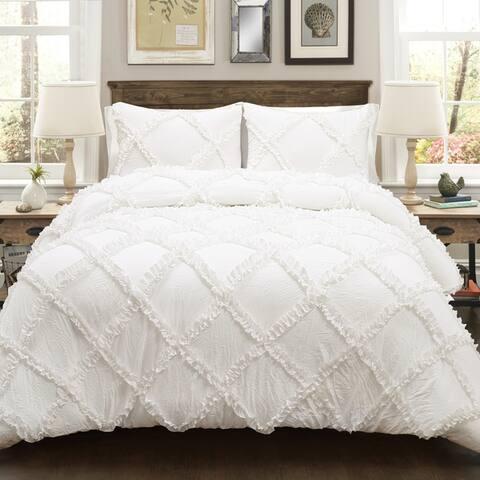 Lush Decor Ruffle Diamond 3 Piece Comforter Set