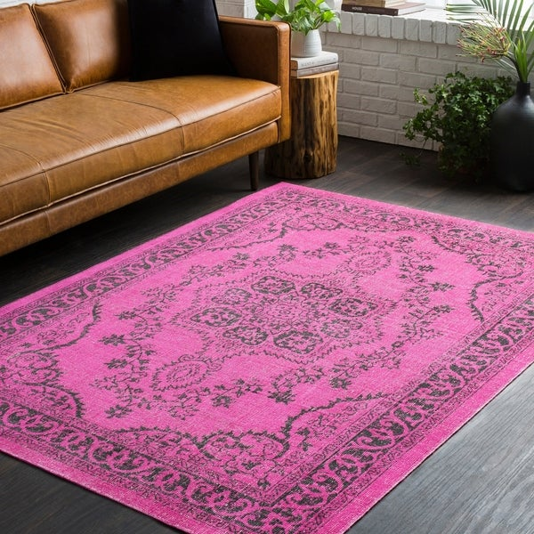 Traditional Persian Distressed Overdyed Pink Area Rug - 2' x 3'