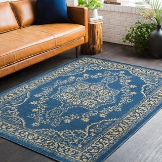 Traditional Persian Oriental Navy Blue/Yellow Area Rug - 2' x 3'