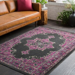 Traditional Persian Distressed Charcoal and Pink (2' x 3')