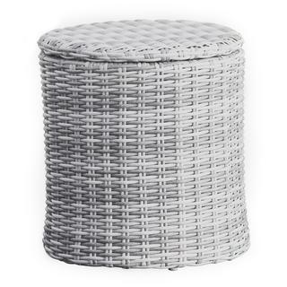 Elle Decor Vallauris Grey Wicker Outdoor Storage Side Table