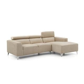 LYKE Home Microsuede Adjustable Headrest Sofa Sectional