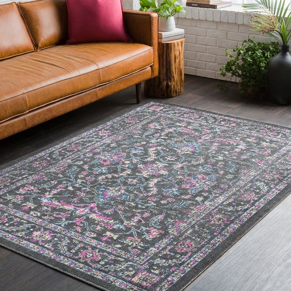 Shop Traditional Persian Distressed Black And Pink Area