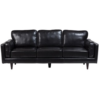 Porter Dylan Black Leather Look Contemporary Mid-Century Sofa