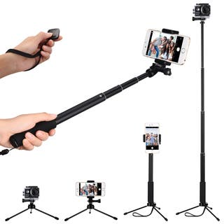 Selfie Stick Set, Extendable Monopod with Bluetooth Remote Shutter and Tripod for Smart Phones and Action Camerass|https://ak1.ostkcdn.com/images/products/15925303/P22327190.jpg?impolicy=medium