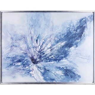 32.5X42.5 Blue Orchid, Hand painted acrylic framed art
