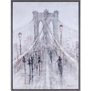 32.25X42.25 Brooklyn Bridge, Hand painted with Acrylic Framed art