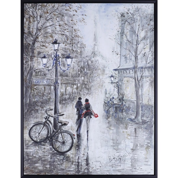 32.25X42.25 Walk in Paris, Hand Painted Acrylic Framed Art