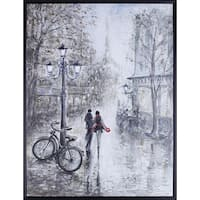 32.25X42.25 Walk in Paris, Hand Painted Acrylic Framed Art