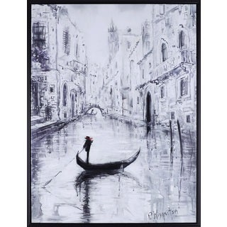32.25X42.25 Venice Boat, Acrylic hand painted canvas framed wall art décor, ready to hang.