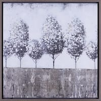 24X24 TREES II, Hand Touched framed canvas