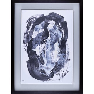 Daniel St-Amant  'Blue Abstract II' Framed Stucco Art