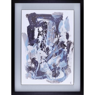 Daniel St-Amant  'Blue Abstract' 24.5 x 32.5-inch Framed Stucco Art with Floating Plaque