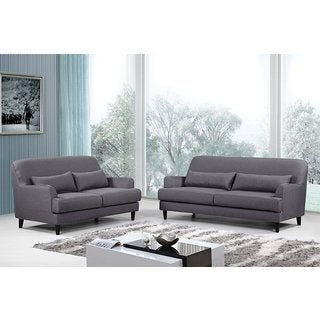 US Pride Furniture Malibu Modern Linen Fabric Upholstery 2-piece Sofa and Loveseat Set