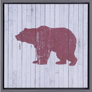 Hobbitholeco Red Bear 17.5-inch x 17.5-inch Framed Wall Art
