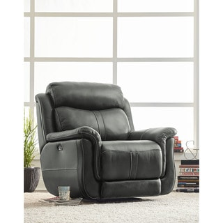 Standard Furniture Ashton Steel Grey Faux Leather and Poly/PU Blend Power Glider Recliner