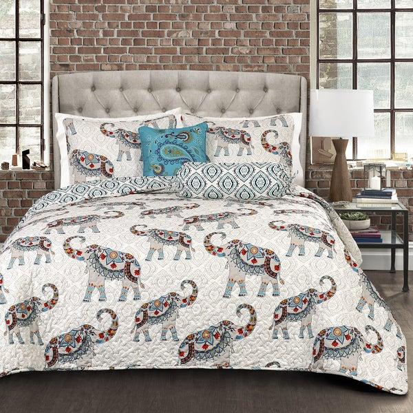 Lush Decor Hati Elephants Blue 5-piece Quilt Set