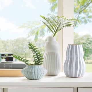 Madison Park Malia Light Green/ Light Bule/ Ivory Handmade Terracotta Vase - Set of 3