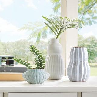 Madison Park Malia Light Green/ Light Bule/ Ivory Handmade Terracotta Vase - Set of 3