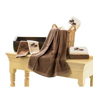 Hiend Accents Embroidered Moose Mocha 3-Piece Towel Set