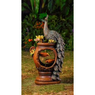 Jeco Peacock Polyresin/Fiberglass Water Fountain with LED Lighting