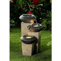 Three-tiered Modern-style Illuminated Water Fountain