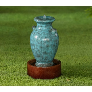 Jeco Turquoise Polyresin Vase Water Fountain with Brown Base