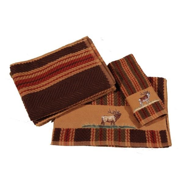 Hiend Accents Multicolored Cotton Embroidered Elk 3-piece Towel Set