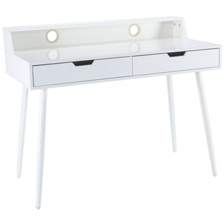 Poly and Bark Fresco White Steel and Wood Writing Desk