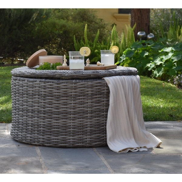 Elle Vallauris Grey Wicker Outdoor Storage Coffee Table