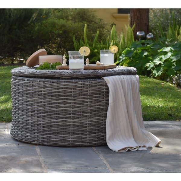 Elle Vallauris Grey Wicker Outdoor Storage Coffee Table