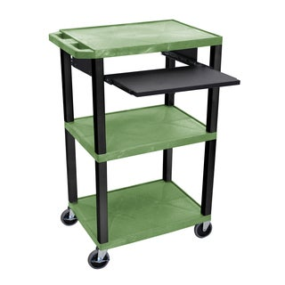 "Offex Tuffy Green 42"" 3 Shelf Cart with Black Pullout Shelf and Black Legs"
