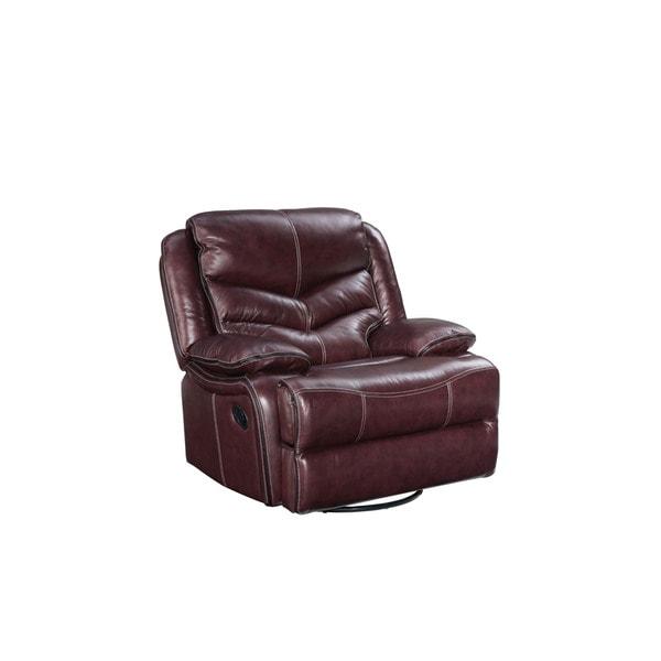 Standard Furniture Burgundy Brown Denali Leather Manual swivel Glider Recliner