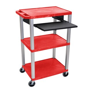 Offex Tuffy Red Plastic 42-inch 3-shelf Cart with Black Pullout Shelf and Nickel Legs