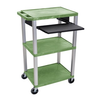 """Offex Tuffy Green 42"""" 3 Shelf Cart with Black Pullout Shelf and Nickel Legs"""