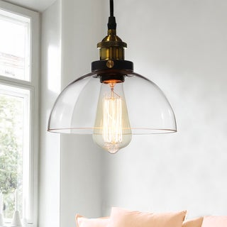 Kolvr 1-Light Bronze Glass Dome Pedant Edison Light (Includes Bulb)