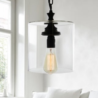 Kostro 1-Light Bronze and Glass Edison Style Lamp (Includes Bulb)