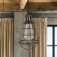 Warehouse of Tiffany Burmane Blavk Metal Single Caged Edison Bulb Lamp Pendant