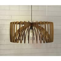 Thr3e Lighting 1-Light Modern Laser Cut Natural Wood Bowl Pendant