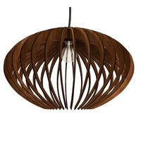 Thr3e Lighting 1-Light Modern Laser Cut Natural Wood Oval Pendant