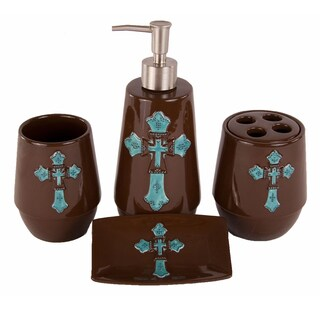 HiEnd Accents 4-piece Cross Bathroom Set Turquoise