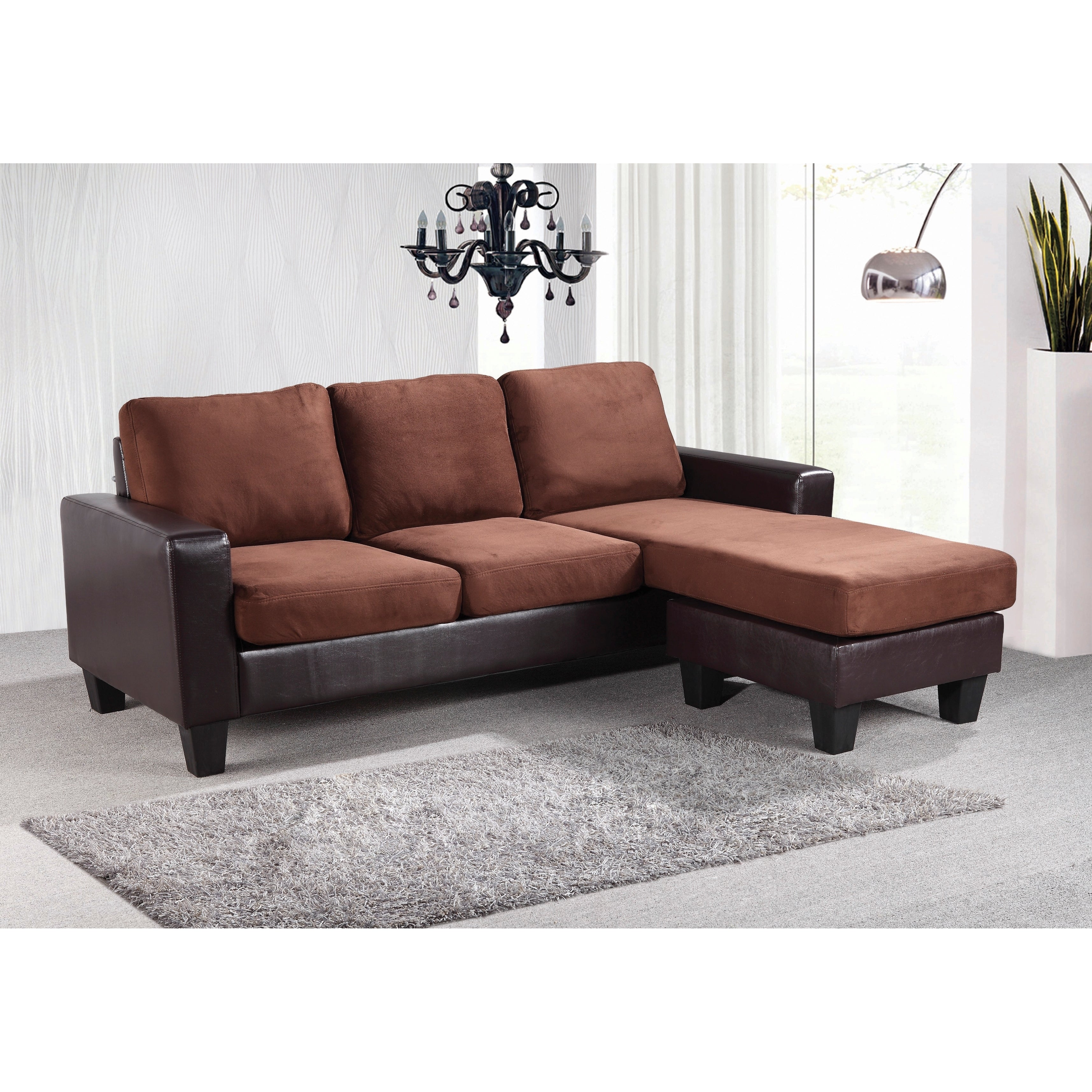 Lyke Home Two-Tone Fabric Reversible Sofa Chaise, Tan (Fa...
