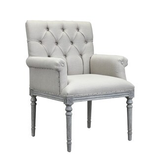 Burnham Home Designs Keegan Collection Wood and Linen Upholstered Armchair