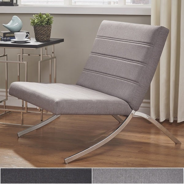 Shop Xavier Grey Linen Chrome Metal Leg Accent Chair