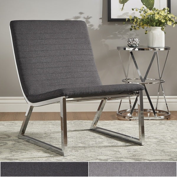 shop ululani grey linen chrome metal leg accent chair. Black Bedroom Furniture Sets. Home Design Ideas