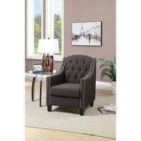 Hutton Grey Plush Button Tufted Armless Chair Free