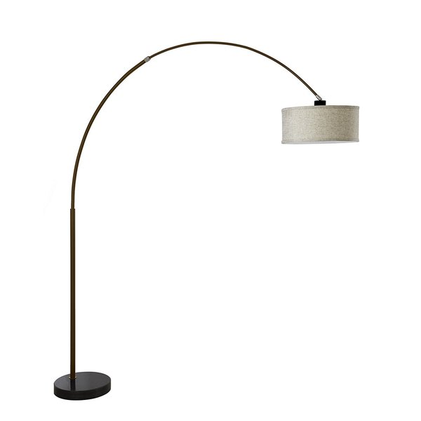 Q-Max Steel Adjustable Arching 81-inch Floor Lamp with Beige Shade and Black Marble Base