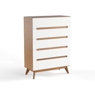 Carson Carrington Sundsvall Mid-century White and Walnut 5-drawer Chest